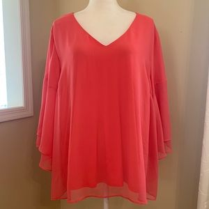Lane Bryant Salmon Tulle Bell Sleeve Top 22/24